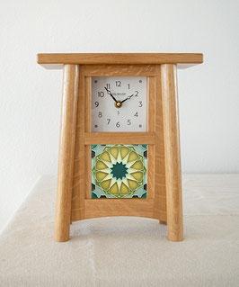 Scandinavian Tile Mantel Clock - Natural Oak Finish SCAN-44-NO