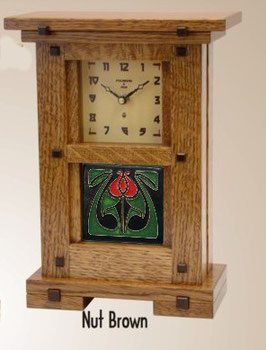 Greene & Greene Mantel Clock with your choice of any handcrafted Motawi 4x4 tile