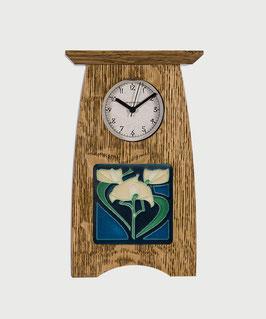 Arts & Crafts 4x4 Tile Clock - Nut Brown Oak Finish