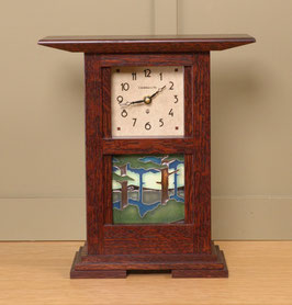 Prairie Style Tile Clock--Craftsman Oak Finish  with your choice of any handcrafted Motawi 4x4 tile PRT-44-CO