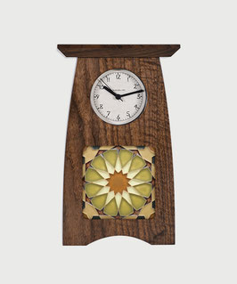 Arts & Crafts 4x4 Tile Clock - Solid Walnut