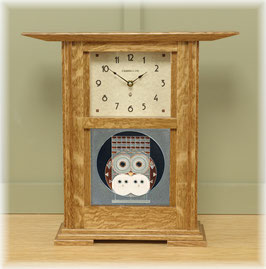 Prairie Style Tile Clock with Nut Brown Oak Finish and choice of 6 x 6 tile.