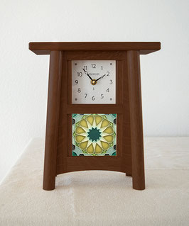 Scandinavian Tile Mantel Clock - Walnut Finish
