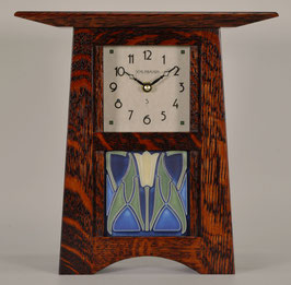 Craftsman Tile Clock with Craftsman Oak Finish & 4 x 4 Tile        CTC-44-CO
