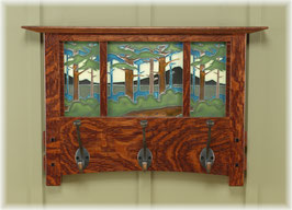 "Coat Rack with 8"" tall Motawi Tile--Craftsman Oak Finish"