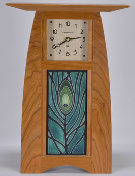 Arts & Crafts Tile clock in Solid Cherry  with choice of 4x8 Motawi Tile   #ACT-48-CH