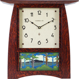 "Arts & Crafts Tile Clock in Quartersawn White Oak  with ""Craftsman Oak"" Finish and 8x4"" Motawi Tile Options.  ACT-84-CO"