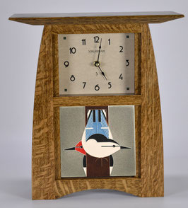 Arts & Crafts Tile clock in Quartersawn White Oak in Nut Brown Oak Finish and  choice of 6 X 6 Motawi Tile   #ACT-66-NBO