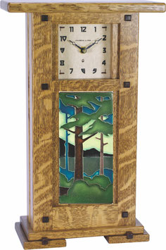 Greene & Greene Mantel Clock with 4x8 Motawi Tile