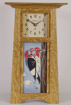 Craftsman Tile Clock with choice of 4x8 Motawi Tile in Nut Brown Oak Finish.   CTC-NBO