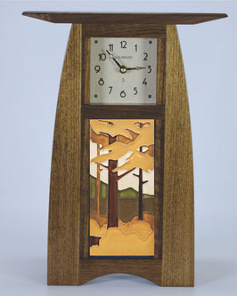 Arts & Crafts Tile clock in Solid Walnut  with choice of 4x8 Motawi Tile   #ACT-48-WAL