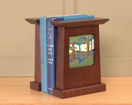Arts & Crafts Bookends in Craftsman Oak with Motawi Tile