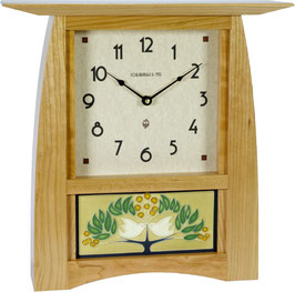 "Arts & Crafts Tile Clock in Solid Cherry with 8x4"" Motawi Tile Options.  ACT-84-CH"