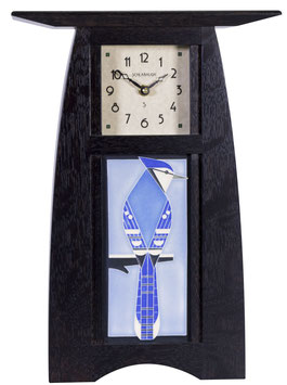 Arts & Crafts Tile clock in Slate Finish  with choice of 4x8 Motawi Tile   #ACT-48-SLATE