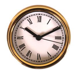 "3 1/4"" (83mm) Clock Fit-up  White Roman/Gold Bezel 200261"