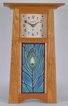 Craftsman Tile Clock with choice of 4x8 Motawi Tile in Solid Natural Cherry.   CTC-CH