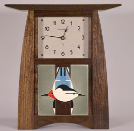 Arts & Crafts Tile clock in Solid Walnut and  choice of 6 X 8 Motawi Tile   #ACT-66-WAL