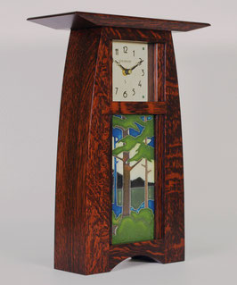 Arts & Crafts Tile clock in Craftsman Oak Finish with choice of 4x8 Motawi Tile   #ACT-48-CO