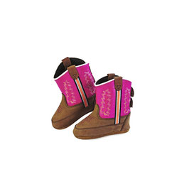JAMA Old West Stiefel aus Leder für Babys Brown Canyon Foot/Dark Pink Shaft