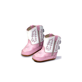 JAMA Old West Stiefel aus Leder für Babys Pink Foot/White Shaft