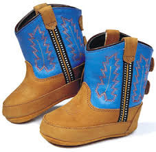 JAMA Old West Stiefel aus Leder für Babys Light Distress Foot/ Blue Shaft