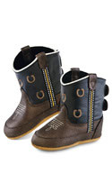 JAMA Old West Stiefel aus Leder für Babys Brown Tumple Foot/Dark Grey Shaft