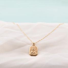 Médaille dorée de Sainte Rita auréolée