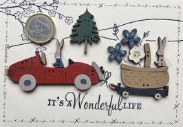 """Carte postale """" L'auto de Jojo et le panier de Lilly"""""""