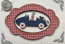"""Carte postale """" La voiture de Jojo"""" cadre vichy ou uni"""