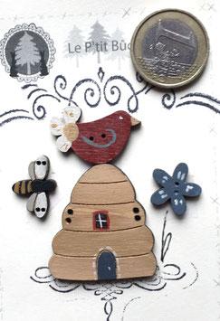 La ruche de l'oiseau fleur et de l'abeille