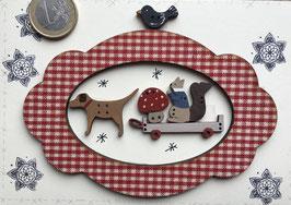 Petit cadre chien-écureuil-champignon-oiseau
