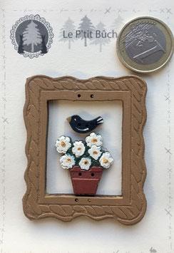 Mini cadre et  pot de fleurs