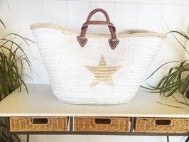 Capazo white gold star xxxl asas piel doble