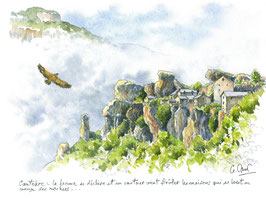 Lot de 5 cartes postales soit Cantobre (2x), les gorges de la Jonte, le moulin de Corp, brebis sur le Causse
