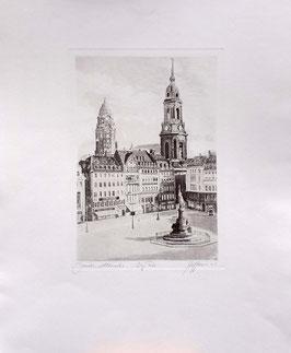 """Original Radierung """"Dresden Ansicht-Dresden Altmarkt"""""""