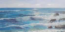 """Künstleroriginal, Öl auf Leinwand, """"Spanische Küste"""", 120 x 60 cm"""