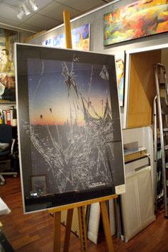 "Lithografie ""Dresden bei Nacht"""