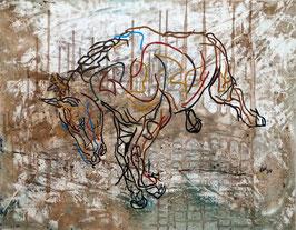 """Original Acryl auf Leinwand """" Springendes Pferd"""""""