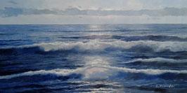"""Künstleroriginal, Öl auf Leinwand, """"Abendmond über dem Meer"""", 120 x 60 cm"""