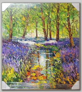 """Original Ölbild """"Waldfluss mit Lilienwiese"""""""