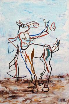 """Original Acryl auf Leinwand """" Selbstportrait als Kentaur mit Armbrust"""""""