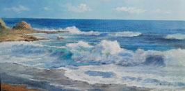 """Künstleroriginal, Öl auf Leinwand, """"Raue Spanische Küste"""", 120 x 60 cm"""