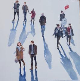 """Künstleroriginal, Öl auf Leinwand, """"Neue Normalität II"""", 40 x 40 cm"""