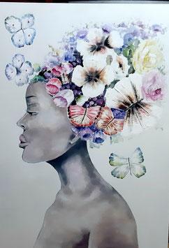 "Künstleroriginal, Öl auf Leinwand, ""Flower Lady"", 100 x 80 cm"