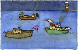 """Limitierter Kunstdruck von Holger Koch """"Nächtlicher Fischfang"""""""