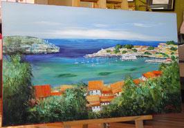 """Ölbild """"Landschaft am Meer"""""""