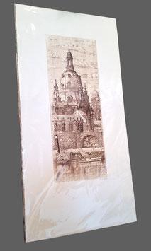 """Original Radierung """"Dresdner Frauenkirche mit Dampfschiff"""" Dresdenansicht"""