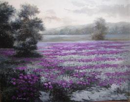 """Künstleroriginal, Öl auf Leinwand, """"Purple Landscape"""", 100 x 80 cm"""