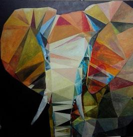 """Künstleroriginal, Öl auf Leinwand, """"Elefant"""", 110 x 110 cm"""