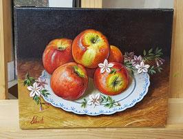 """Original Ölbild """"5 Äpfel auf dekoriertem Teller"""" Stillleben"""
